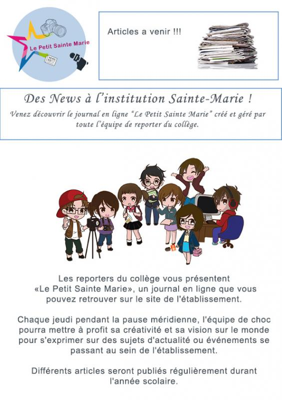 Des NEWS à l'institution La Salle Sainte Marie !